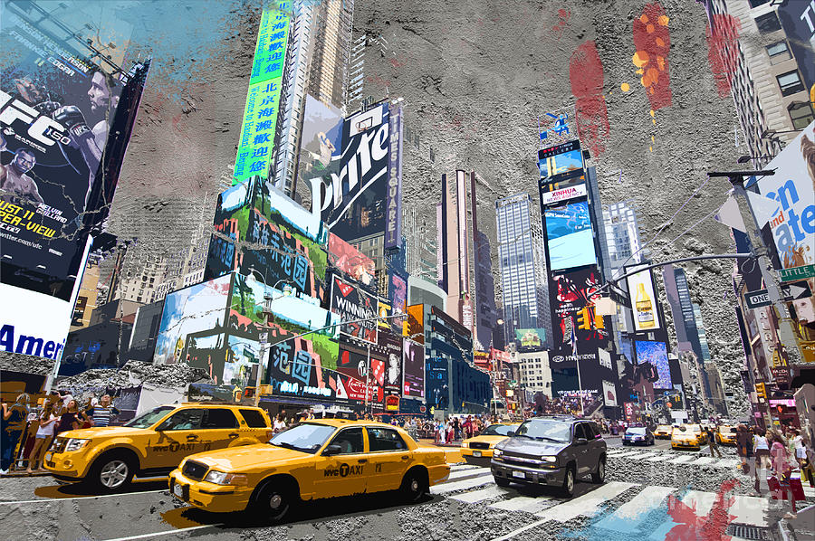 New York Digital Art - Times Square Street Creation by Delphimages Photo Creations