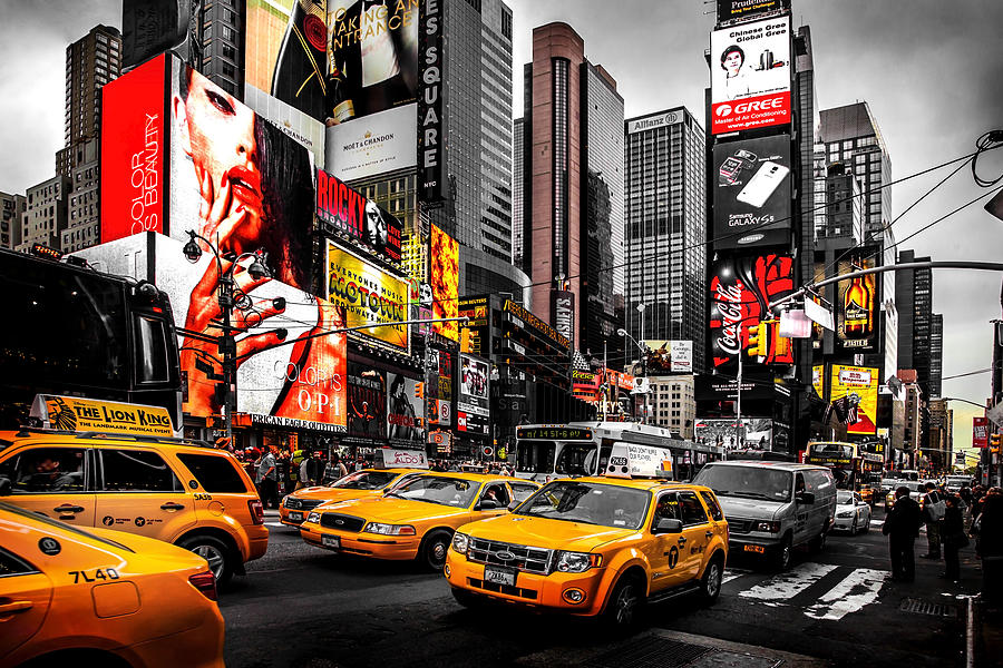 Times Square Photograph - Times Square Taxis by Az Jackson