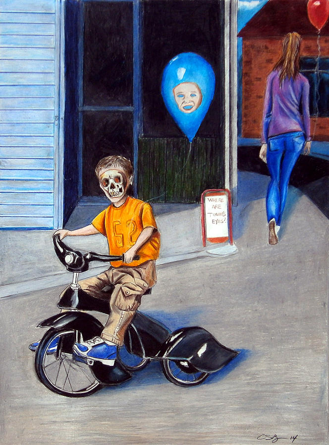 Surreal Painting - Timmys New Tricycle by Chris Benice