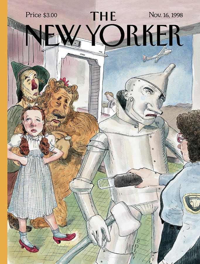 Tin Man Stopped By Security At The Airport Painting by Barry Blitt