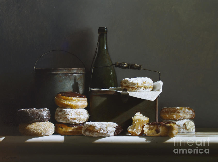 Oil Painting Painting - Tins And Donuts by Larry Preston