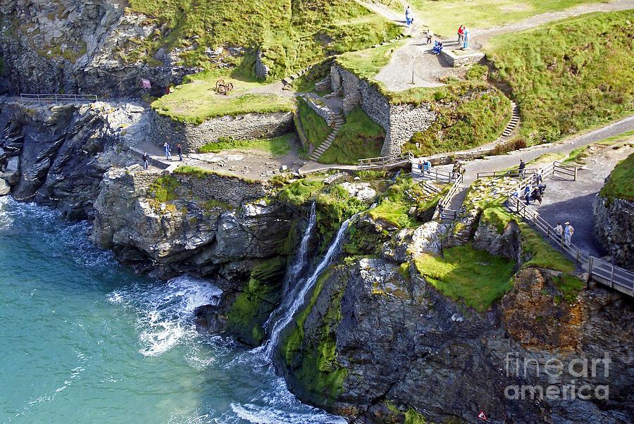 England Photograph - Tintagel Waterfalls by Rod Jones