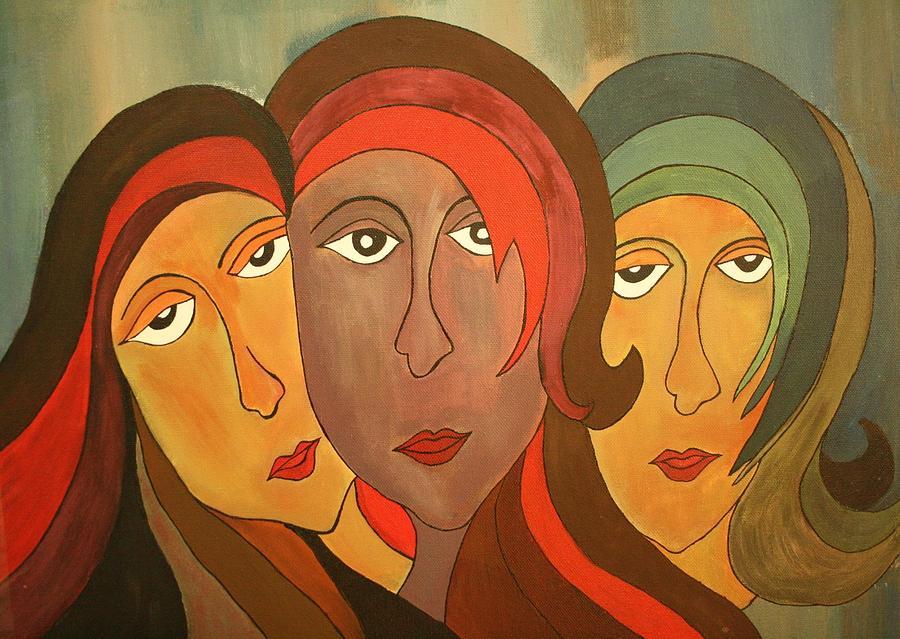 Girls Painting - Tinted Girls by Remya Damodaran