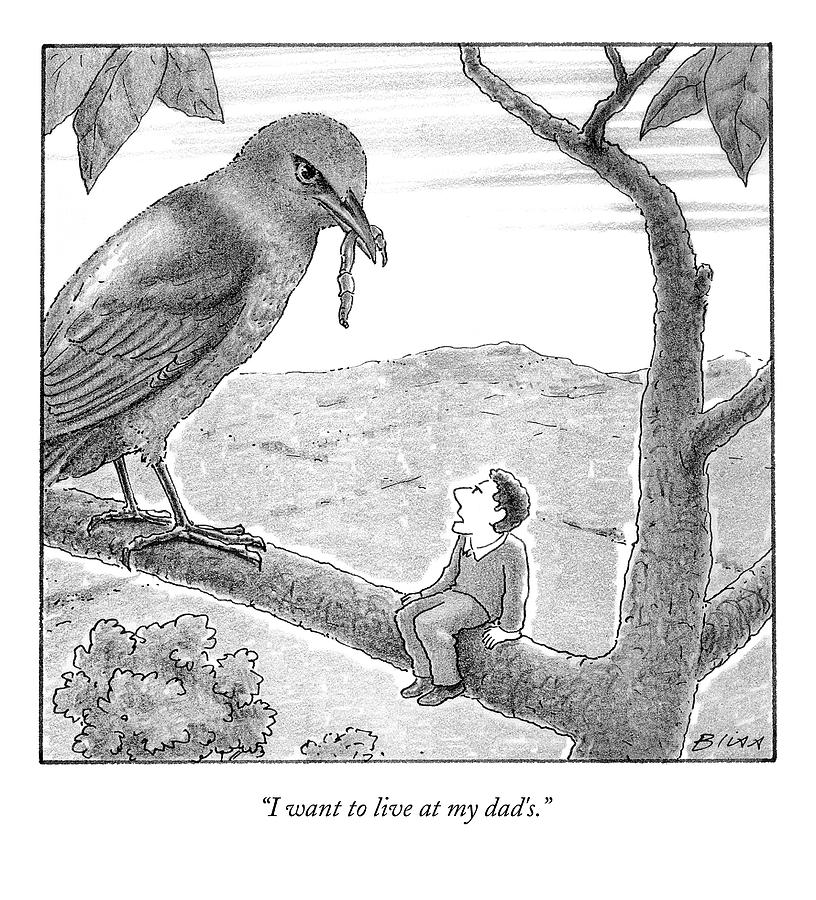 Tiny Man Looks Up At Bird As He Sits On A Branch Drawing by Harry Bliss