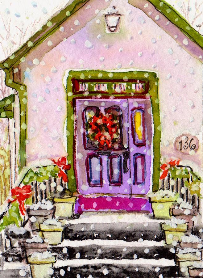 Snow Falling Painting - Tiny Purple Church In The Woods by Deborah Burow