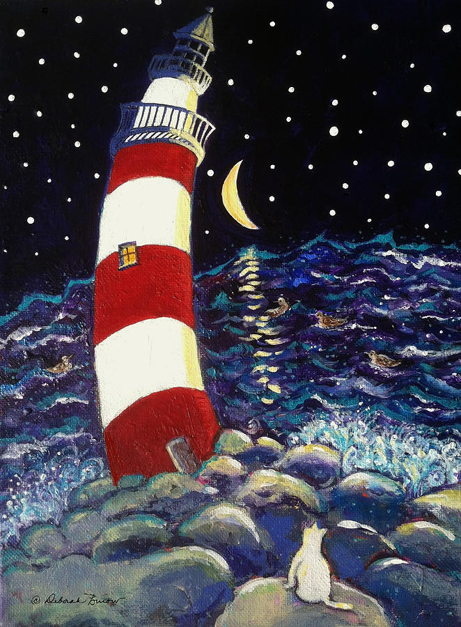 Lighthouse Painting - Tipsy Lighthouse With White Cat by Deborah Burow