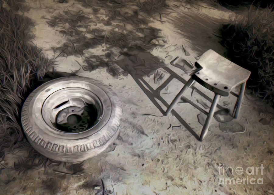Black And White Photography Painting - Tire And Stool by Gregory Dyer