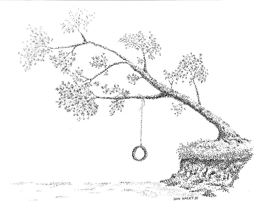 Swing Drawing - Tire Swing by Dan Haley