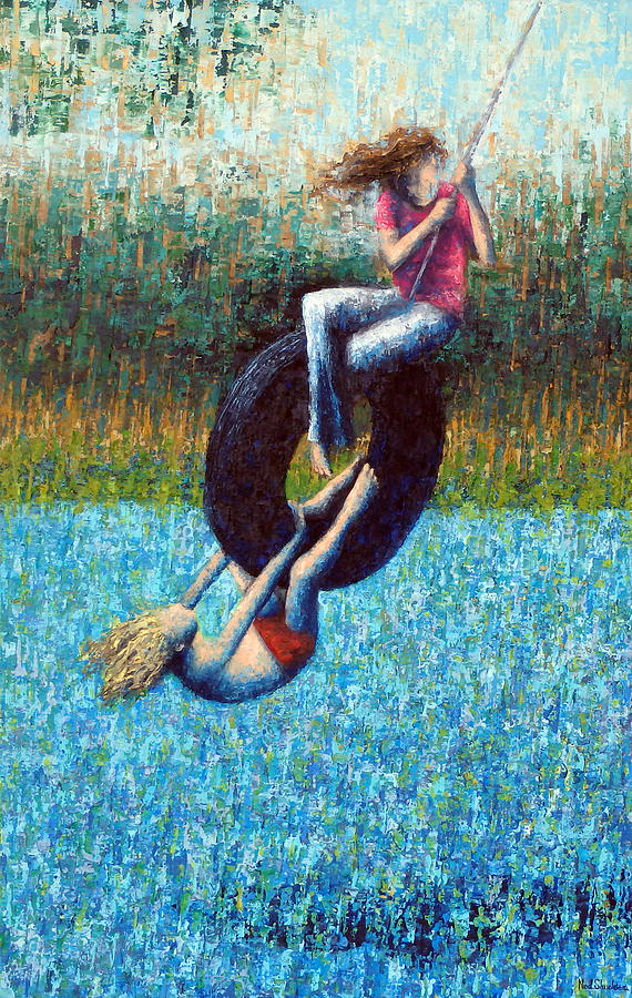 Kids Painting - Tire Swing by Ned Shuchter
