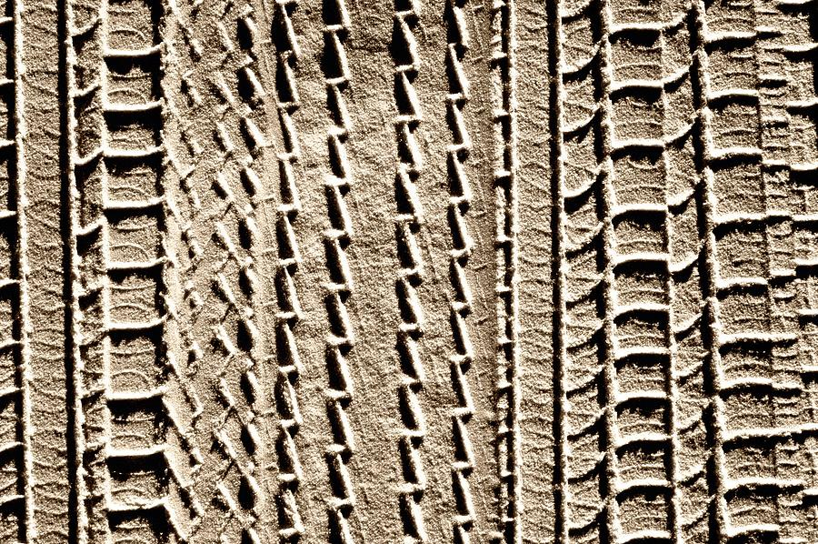 Tire Tracks in Sand Abstract by John Harmon