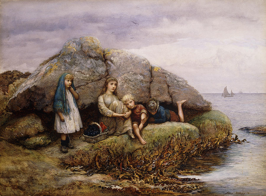 Artist European; Artwork; Awaiting; Basket; Boat; Boys; British Artist; Brother; Business & Industry; Caucasian Ethnicity; Clothes; Fishing Craft; Fishing Vessel; Four People; Girl; Girls; Group; Headscarf; Headwear; Hopkins; Hopkins Painting - Tired Of Waiting by Arthur Hopkins