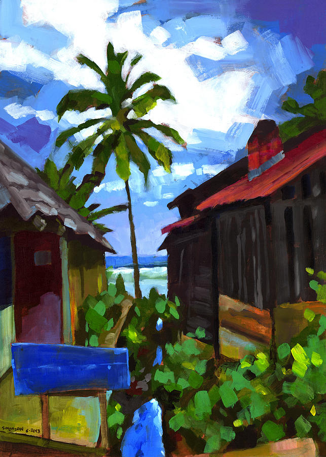 Beach Painting - Tiririca Beach Shacks by Douglas Simonson
