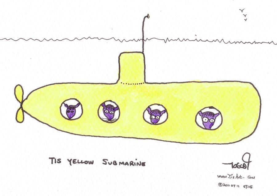 Purple Painting - Tis Yellow Submarine by Tis Art
