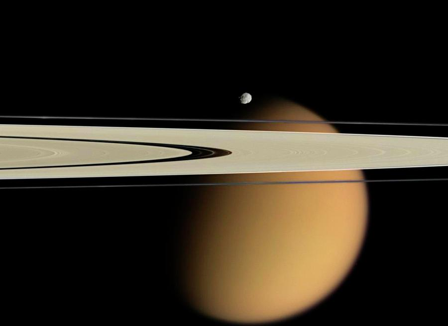 Nobody Photograph - Titan And Saturns Rings by Nasa/jpl/space Science Institute