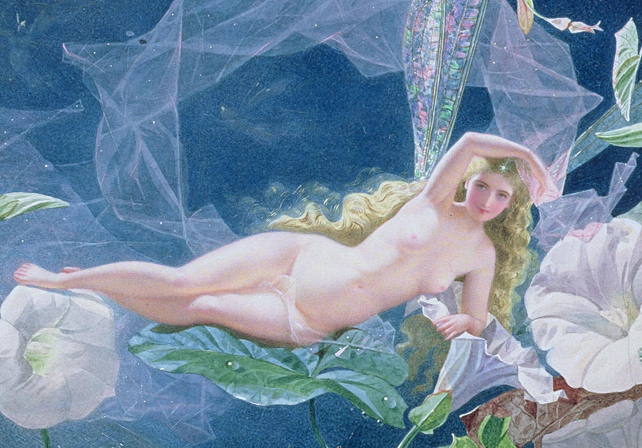 A Midsummer Night's Dream Painting - Titania Lying On A Leaf  by John Simmons