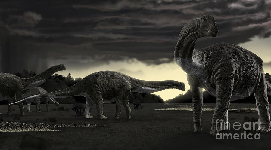 Zoology Digital Art - Titanosaurs In The First Storm by Rodolfo Nogueira