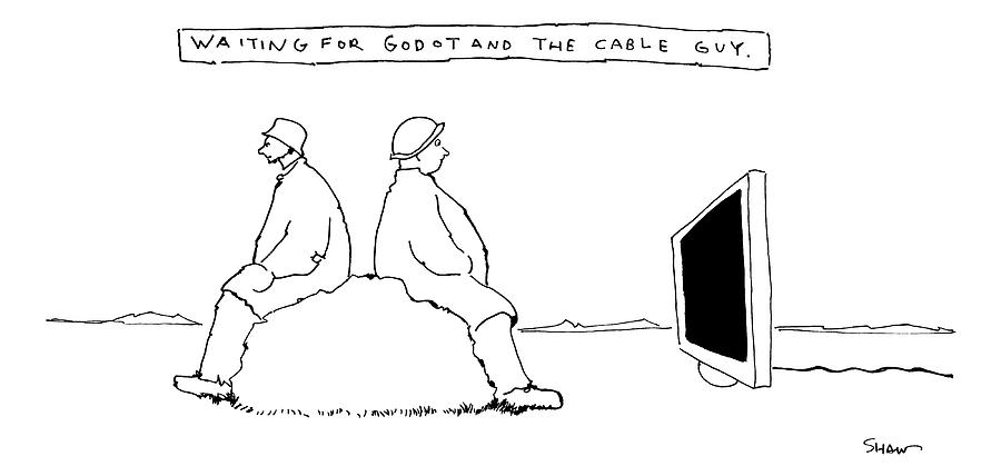Title Waiting For Godot And The Cable Guy Two Drawing By Michael