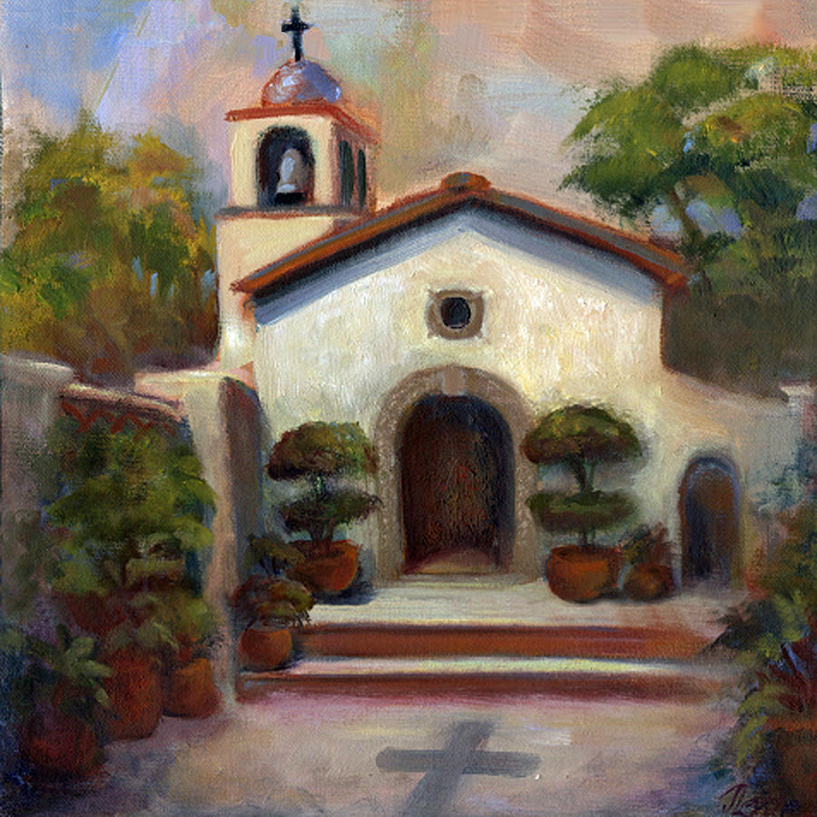 Chapel Painting - Tlaquepaque Chapel In Sedona by Judy Downs