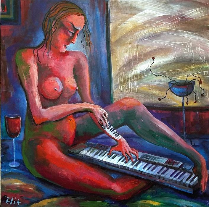 Loneliness Painting - To Find The Melody - 1 by Elisheva Nesis