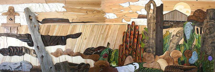 Cedar Sculpture - To Make You Smile Mural by Teddy n Laurie Mahood