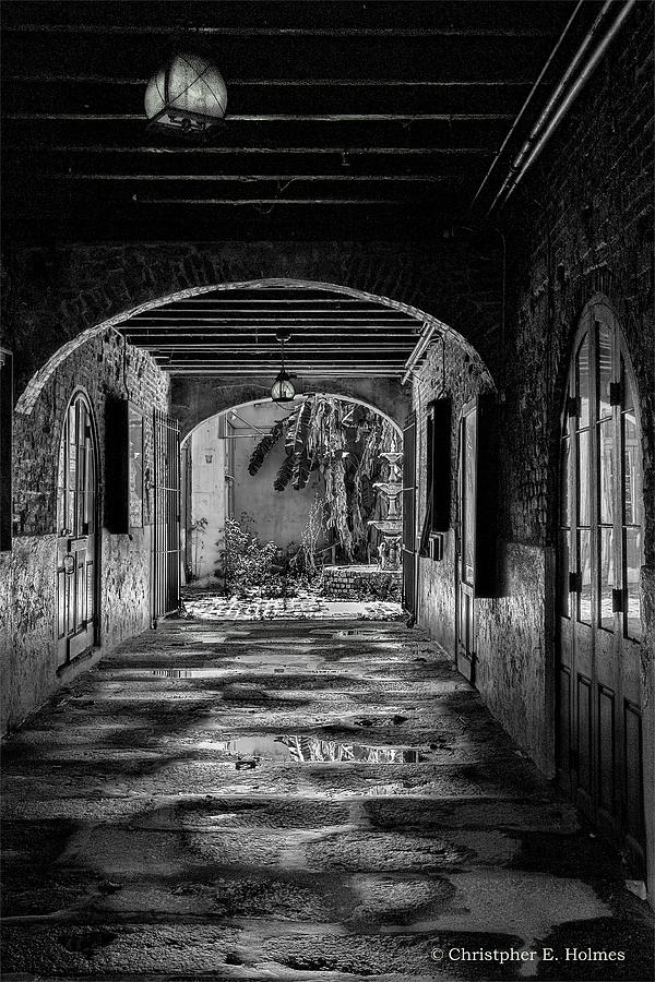 Structures Photograph - To The Courtyard - Bw by Christopher Holmes