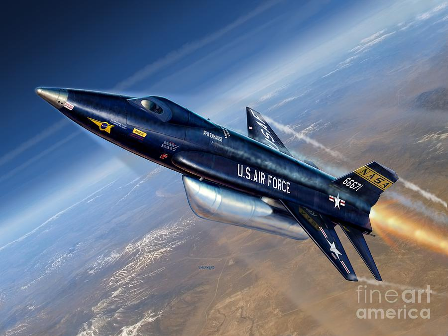 X-15 Digital Art - To The Edge Of Space - The X-15 by Stu Shepherd