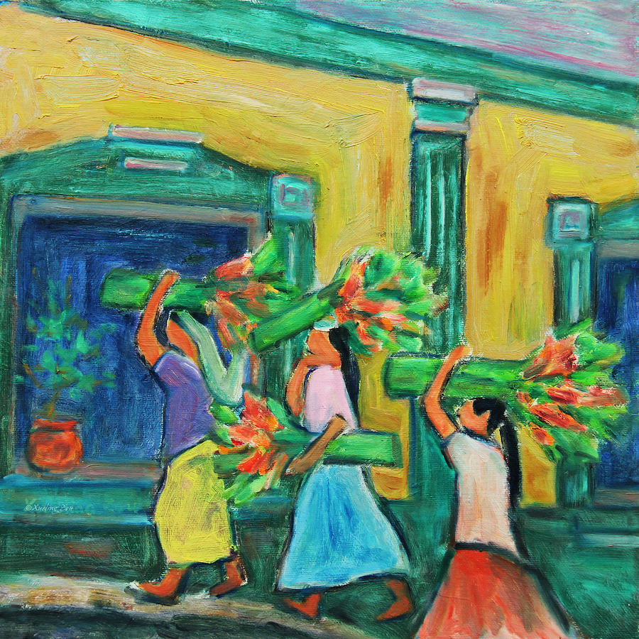 Figurative Painting - To The Morning Market by Xueling Zou