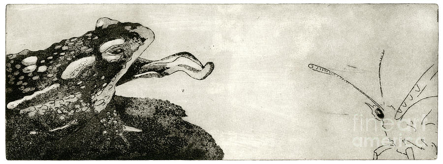 Toad And Butterfly - When There Is No Way Forward - Predator-prey System - Food Chain - Etching Series Painting