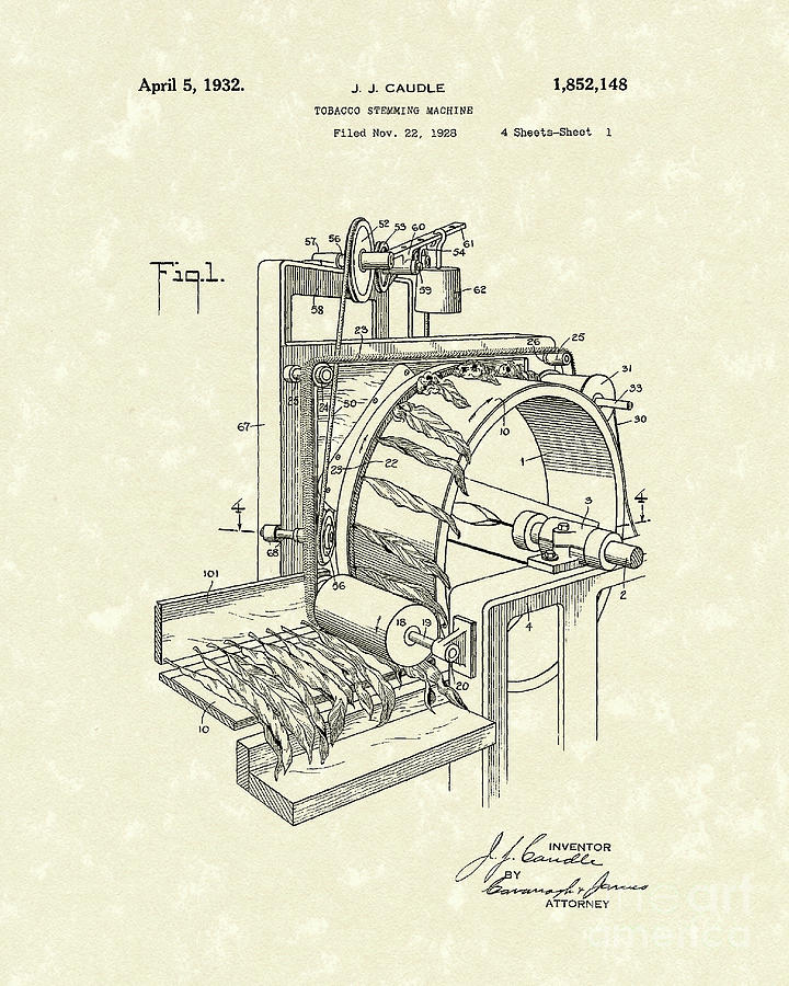 Caudle Drawing - Tobacco Machine 1932 Patent Art by Prior Art Design