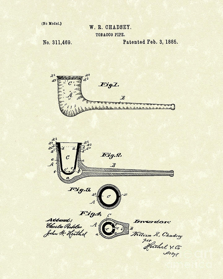 Tobacco Pipe 1885 Patent Art Drawing By Prior Art Design
