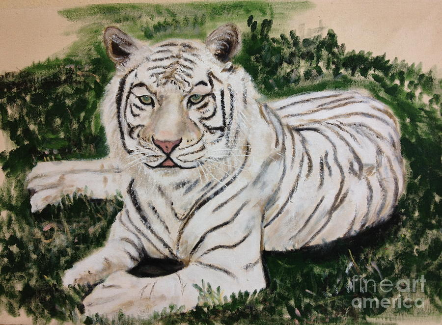 Tiger Painting - Tobi The White Tiger by JackieO Kelley