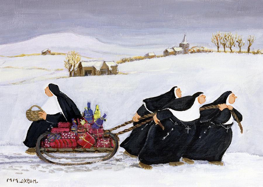Tobogganing Painting By Margaret Loxton