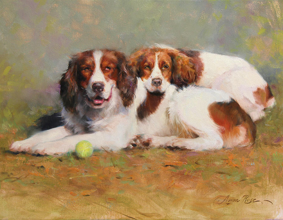 Dogs Painting - Toby And Ellie Mae by Anna Rose Bain