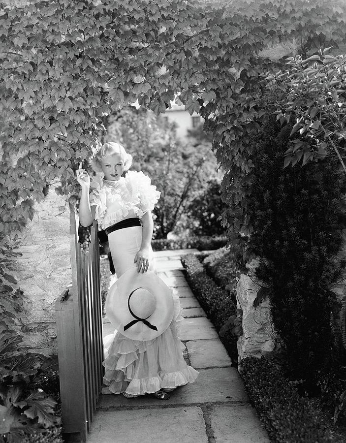 Toby Wing Standing In A Garden Gateway Digital Art by George Hoyningen-Huene