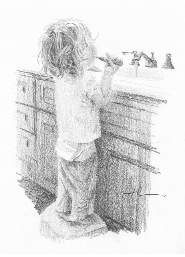 Toddler Brushing Teeth Pencil Portrait  Drawing by Mike Theuer
