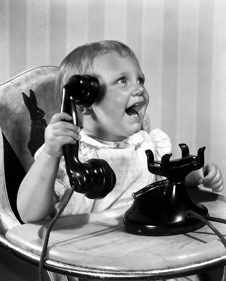 1930 Photograph - Toddler With Telephone by Underwood Archives