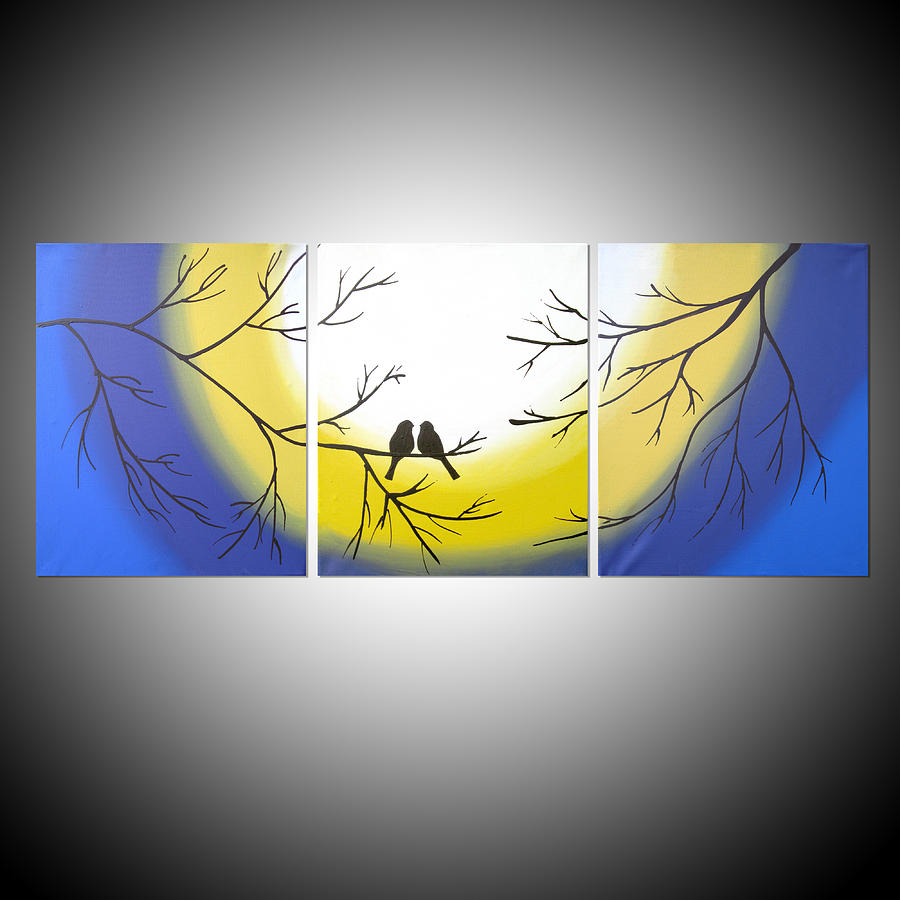 Together Forever Bird On Wire Painting Triptych Original Art ...