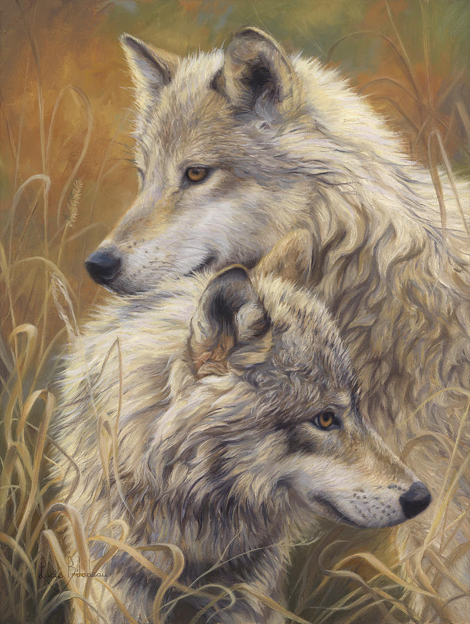 Wolf Painting - Together by Lucie Bilodeau