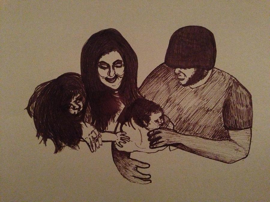 Family Drawing - Togetherness Is Means Apart by Ellie Philpotts