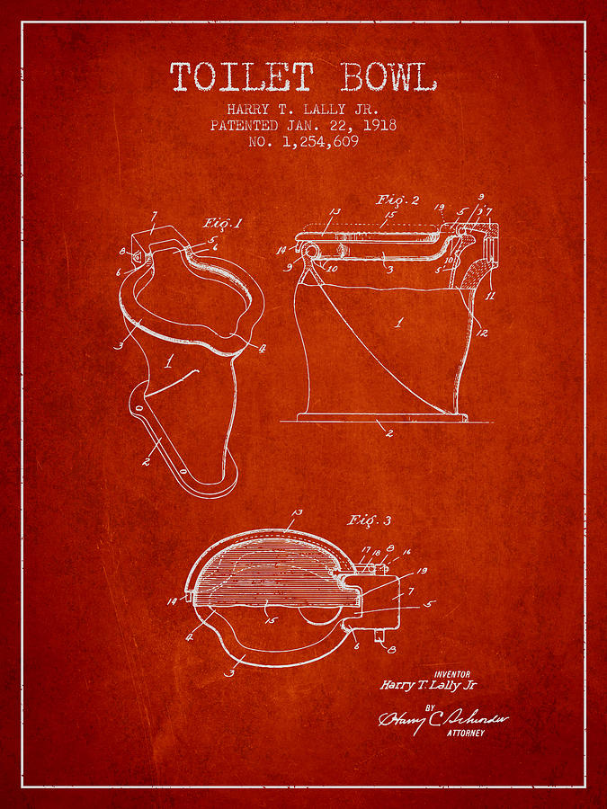 Toilet Bowl Digital Art - Toilet Bowl Patent From 1918 - Red by Aged Pixel