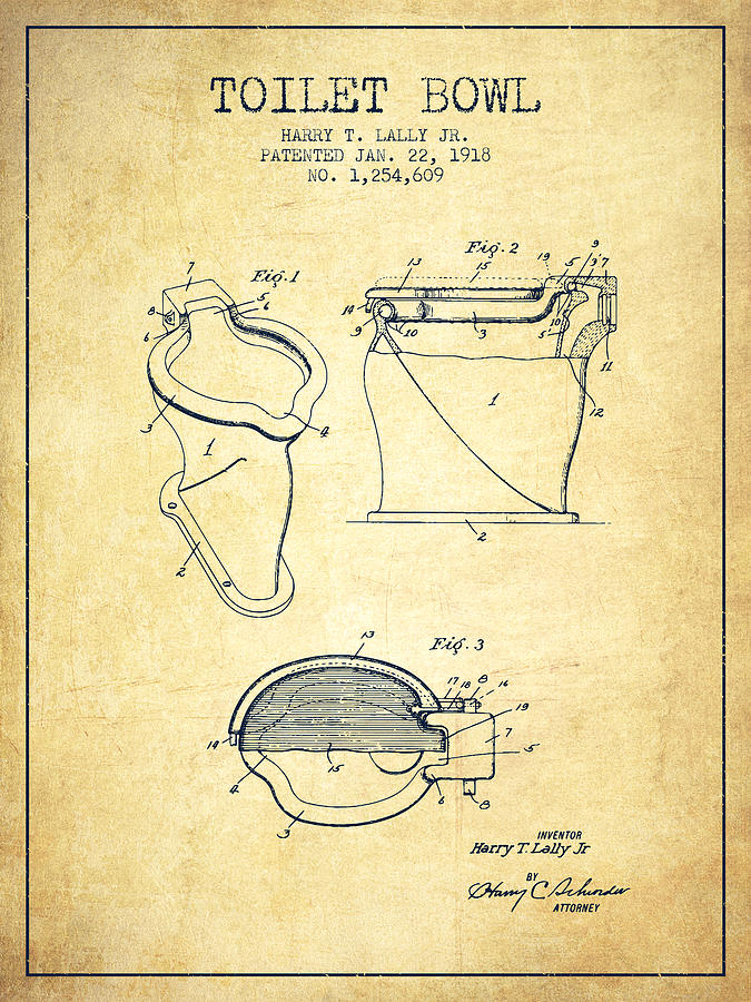 Toilet Bowl Patent From 1918 Vintage Digital Art By Aged