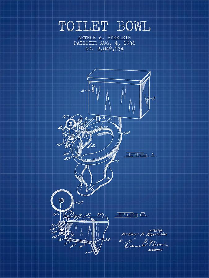 Toilet bowl patent from 1936 blueprint digital art by aged pixel toilet digital art toilet bowl patent from 1936 blueprint by aged pixel malvernweather Images