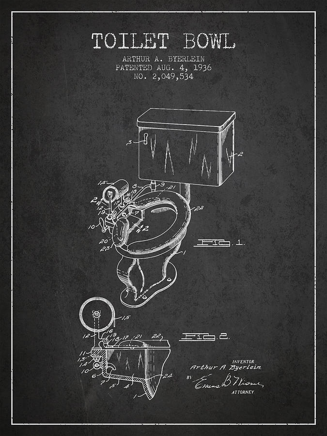 Toilet Digital Art - Toilet Bowl Patent From 1936 - Charcoal by Aged Pixel