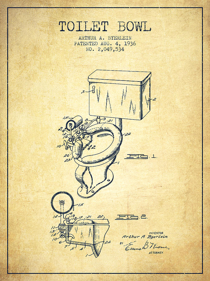 Toilet Bowl Patent From 1936 Vintage Digital Art By Aged