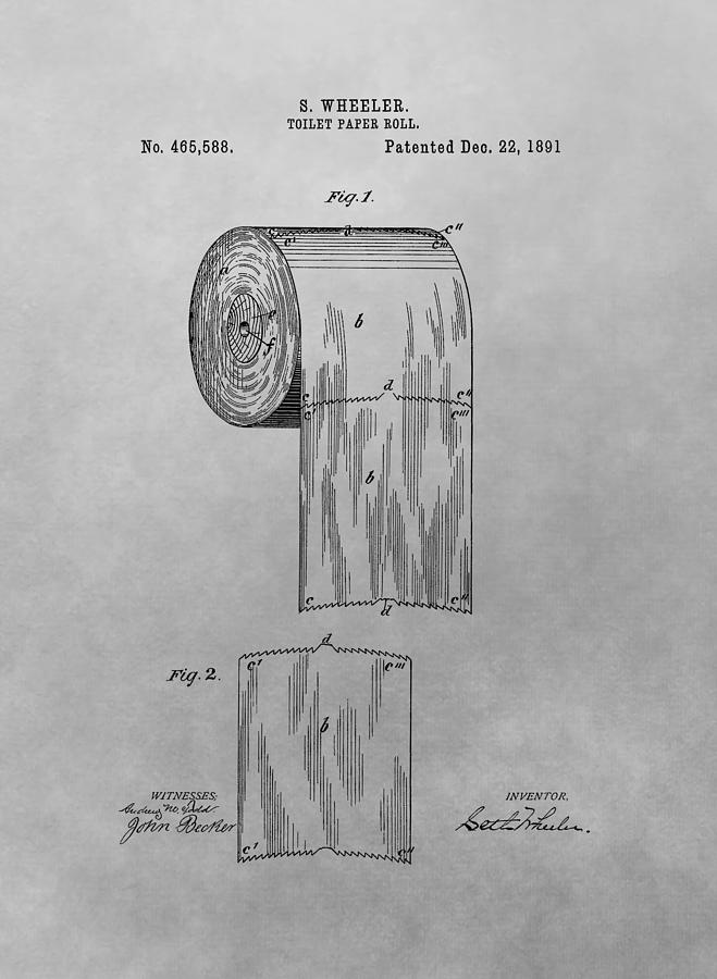 toilet paper patent drawing drawing by dan sproul