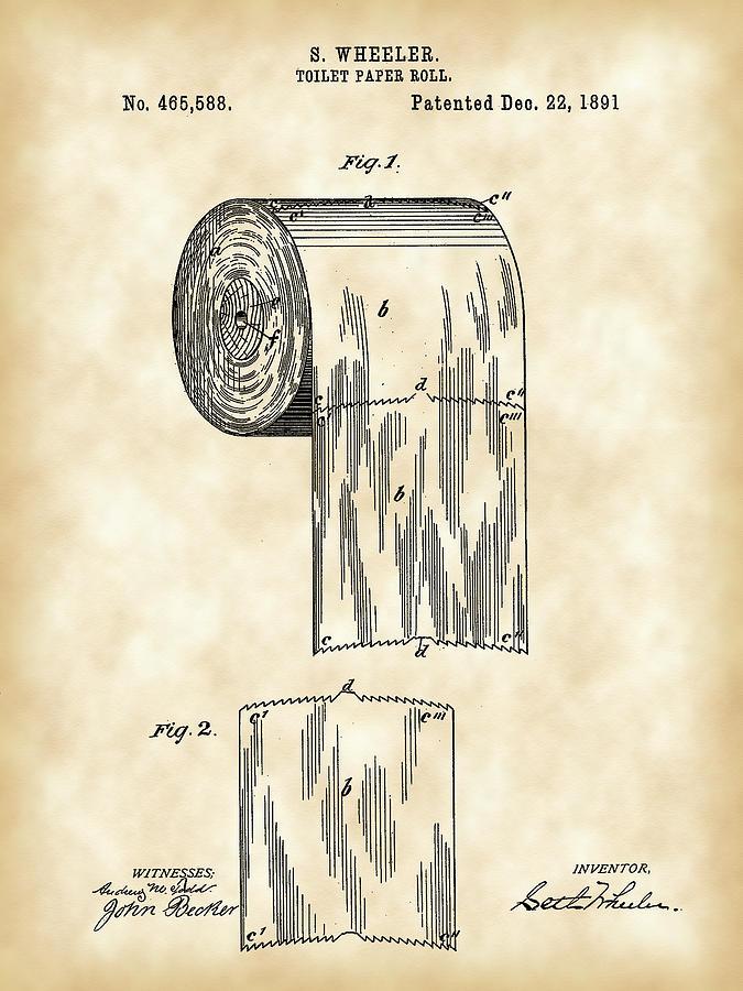 Toilet Paper Roll Patent 1891 Vintage Digital Art By