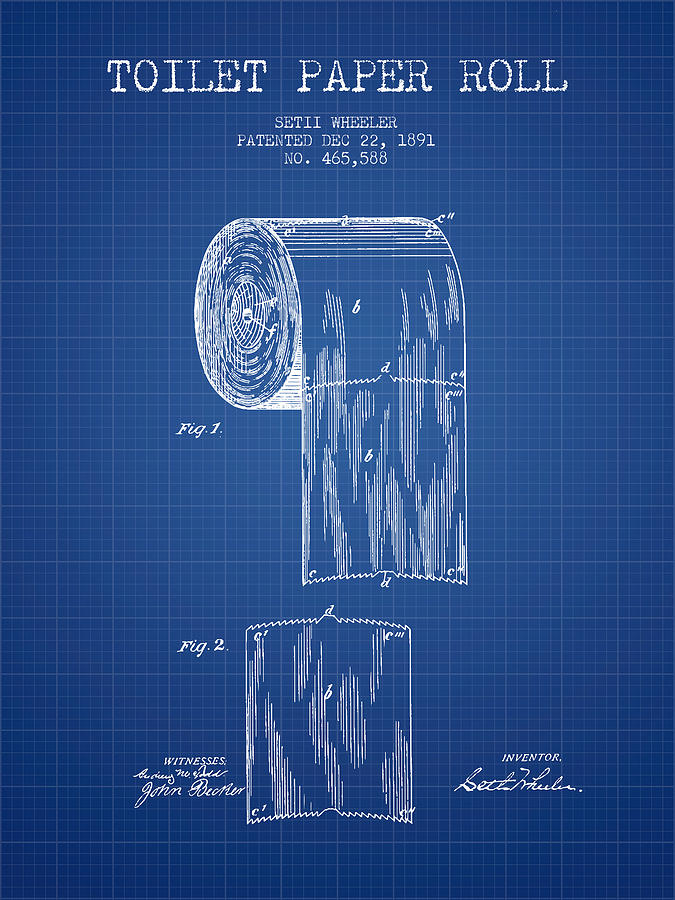 Toilet paper roll patent drawing from 1891 blueprint digital art toilet digital art toilet paper roll patent drawing from 1891 blueprint by aged pixel malvernweather Gallery