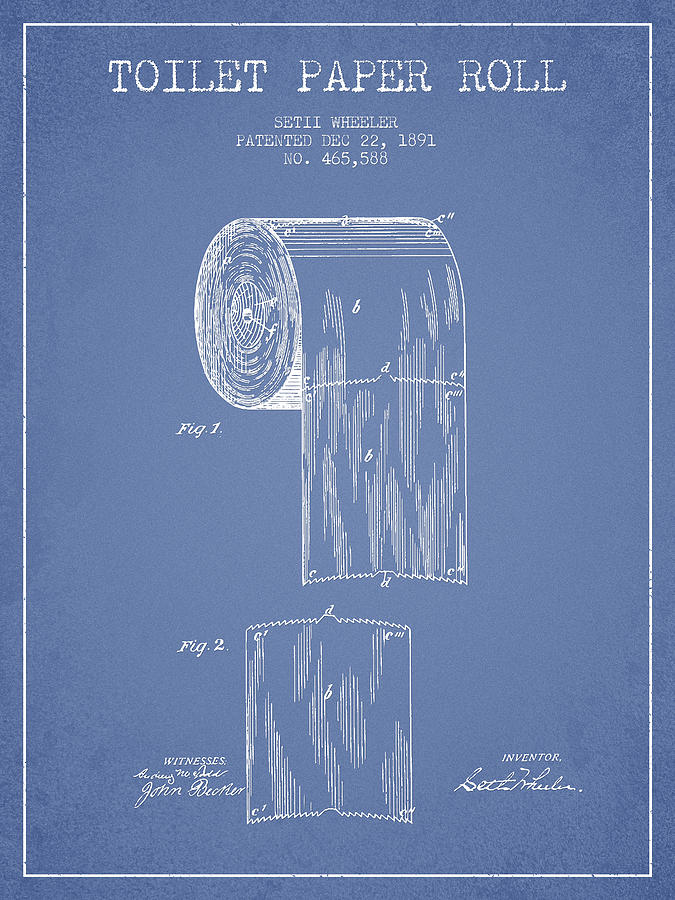 Toilet Digital Art - Toilet Paper Roll Patent Drawing From 1891 - Light Blue by Aged Pixel