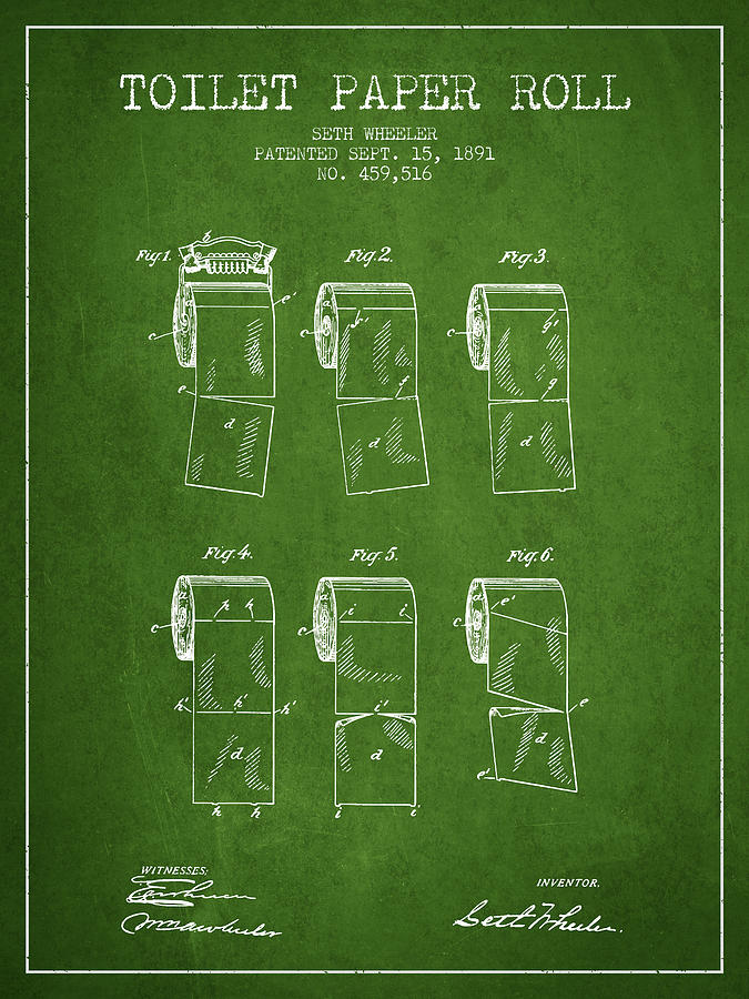 Toilet Paper Digital Art - Toilet Paper Roll Patent From 1891 - Green by Aged Pixel