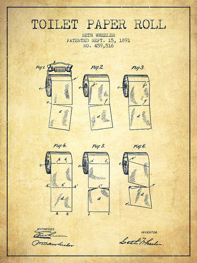 Toilet Paper Roll Patent From 1891 Vintage Drawing By
